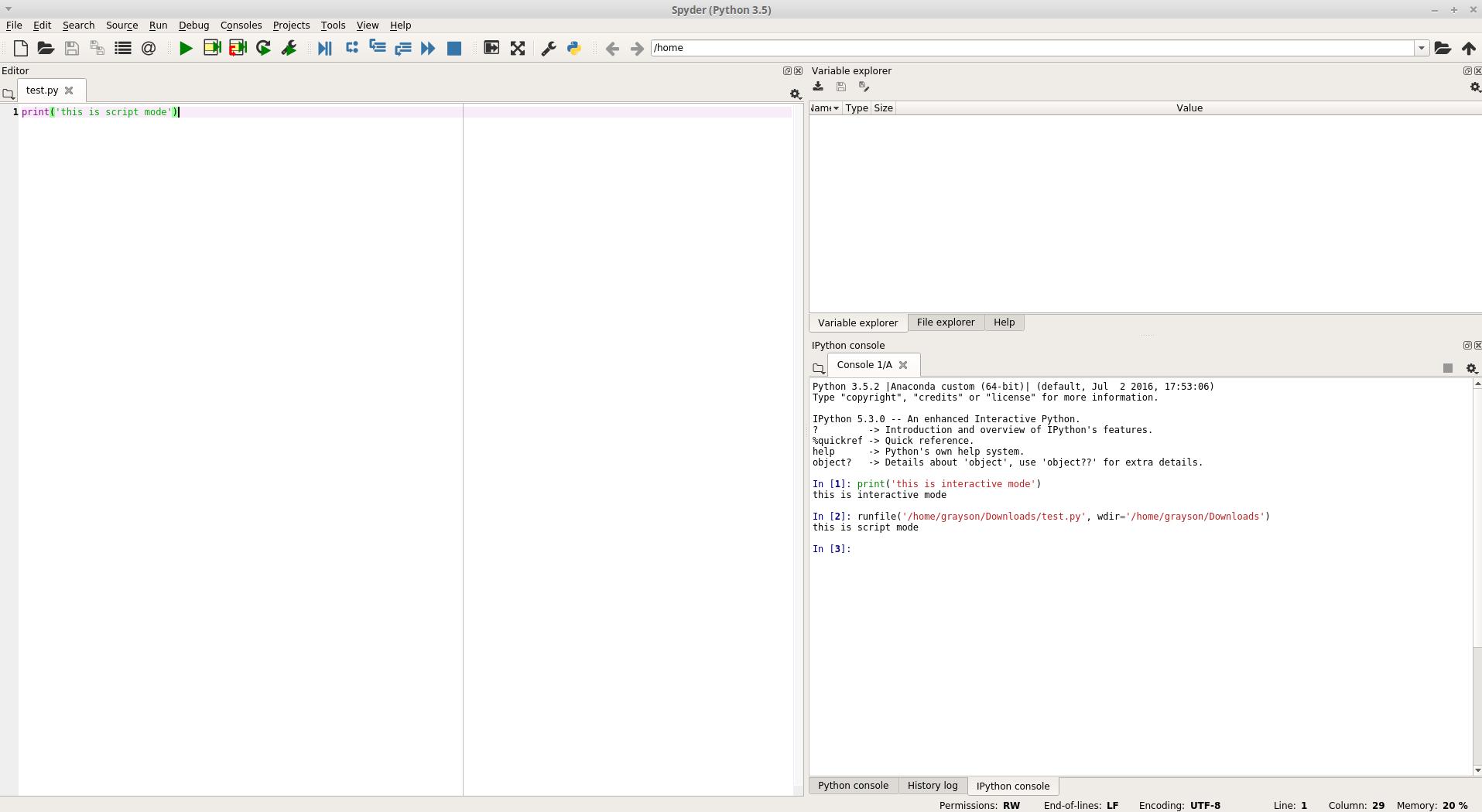script mode example spyder