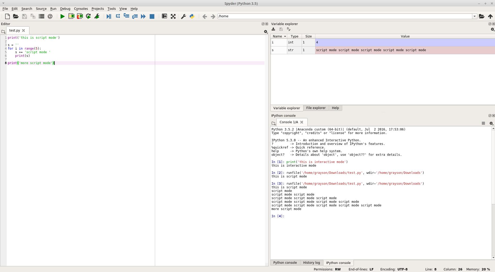 script mode example spyder 2