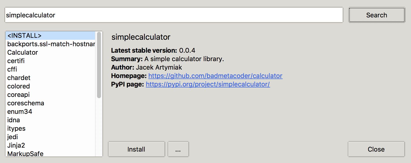 已安装的simplecalculator软件包